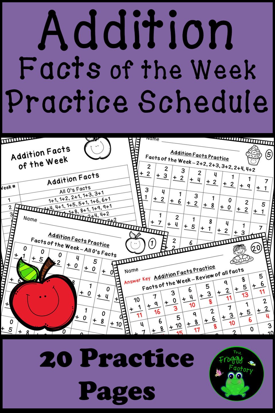 Addition Facts Practice Worksheets and Schedule | Addition facts ...