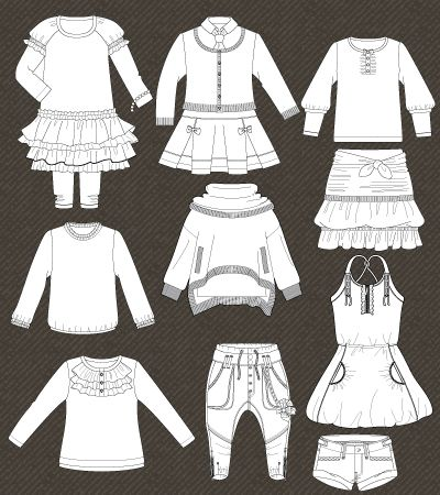 Set of isolated fashion templates for girls | Fashion Flat Sketch ...