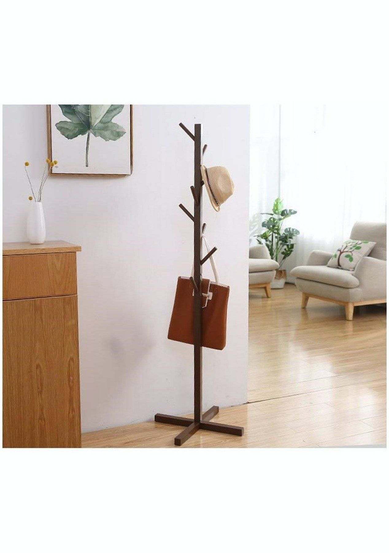 Modern Wooden Cross Base Stand Coat Hat Rack Chocolate In 2021 Coat Stands Vintage Shelving Frames On Wall