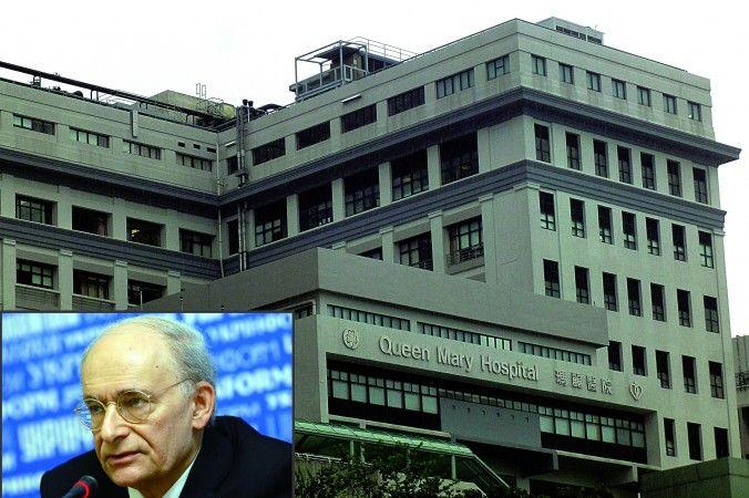 Immagine composita: l'avvocato dei diritti umani David Matas con alle spalle il Queen Mary Hospital di Hong Kong. L'ospedale è sede di un registro dei trapianti di fegato che, se aperto al pubblico, potrebbe fornire informazioni sugli espianti forzati di organi in Cina.