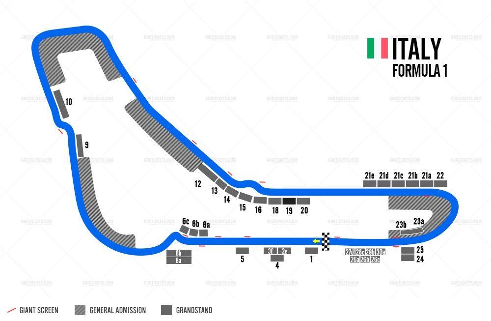 Italy Monza Formula 1 Grand Prix Circuit Map FRMULA 1CIRCUITS
