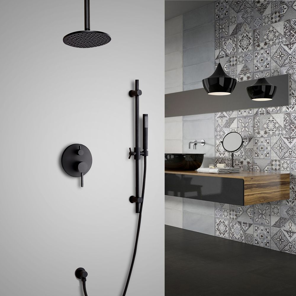 Stylish Black Dual Functions 1-Handle Ceiling Mounted Round Rain Shower Head & Hand Shower Set Solid Brass
