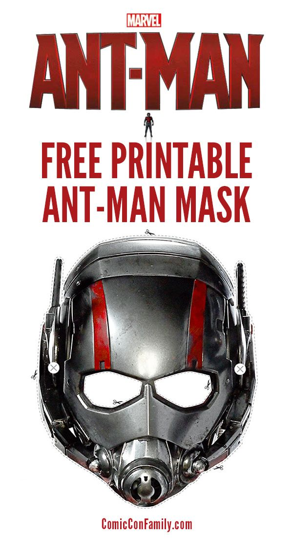 Free Printable: Ant Man Mask + Movie Costume Facts | Pinterest | Ant ...