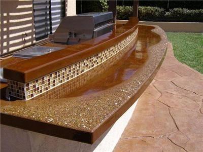 Concrete Countertops Glass Aggregate Aggregate Countertopoutdoor