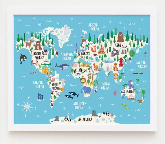 Animal world map print kids world map poster nursery world map animal world map print kids world map poster nursery world map large world map nursery art kids room decor playroom map kids map art gumiabroncs Choice Image