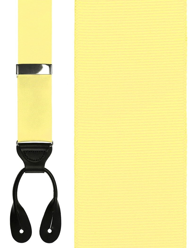 Pale Yellow Grosgraine Ribbon Suspenders (Button Ends)