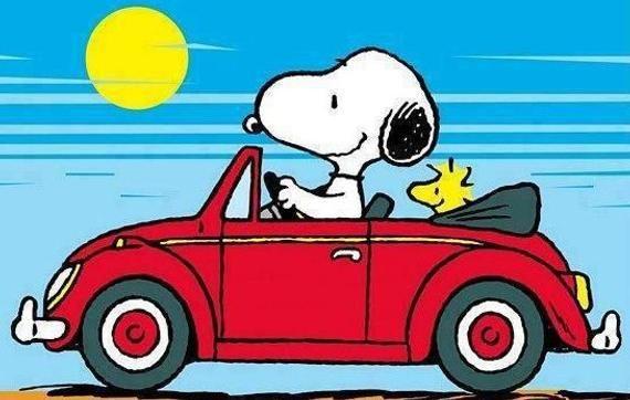 Snoopy et Woodstock, prendre la route dans leur Volkswagen, VW aimant de réfrigérateur, nouvelle plus grande taille