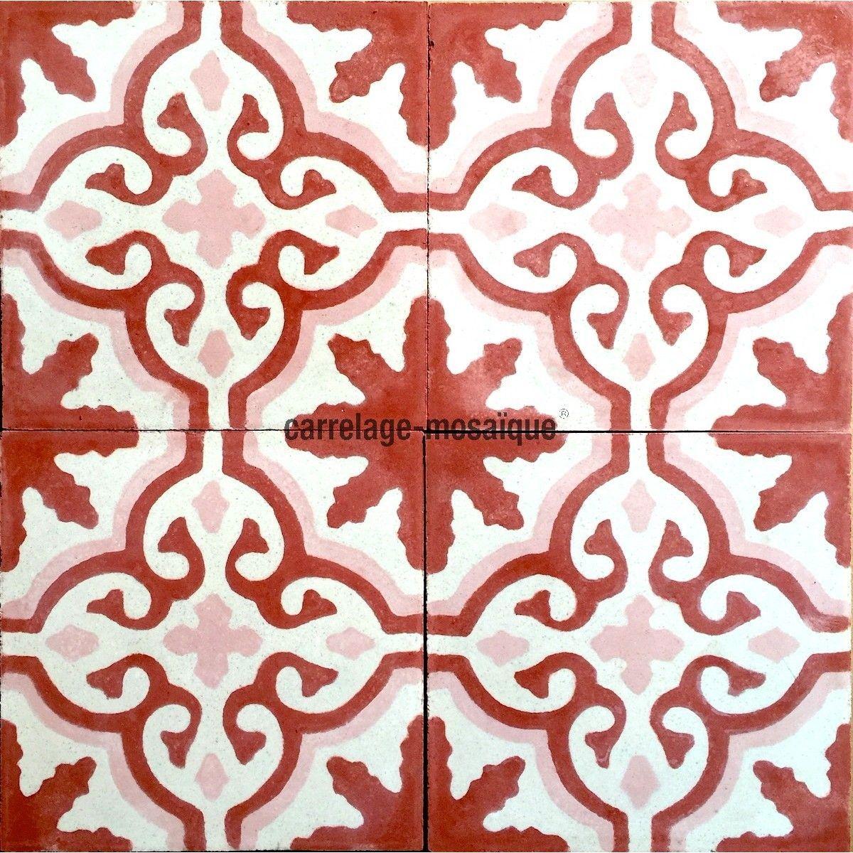 Carreau En Ciment Sol Et Mur 1m Modele Flore Rouge Carrelage