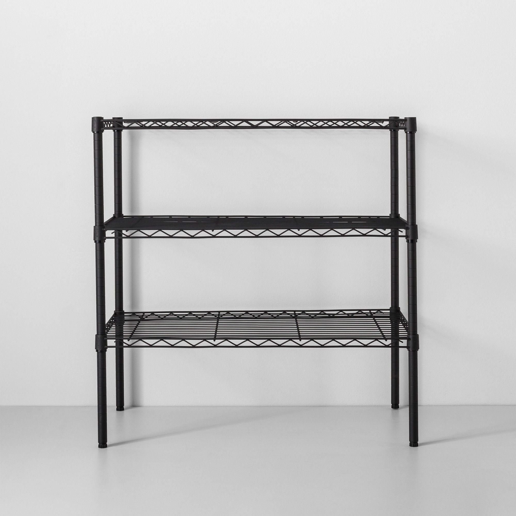 3 Tier Wide Wire Shelf Black - Made By Design™