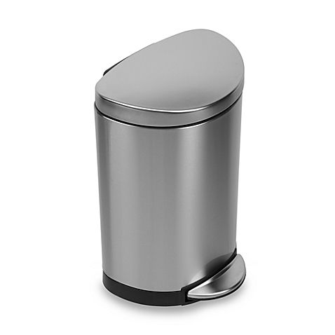 Simplehuman Brushed Stainless Steel Fingerprint Proof Semi Round 10 Liter Step On Trash Can Trash Can Bathroom Trash Can Simplehuman