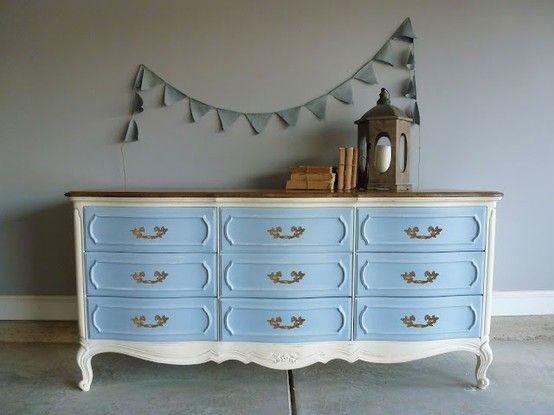 Blue White And Walnut Dresser By Candi Reeder 1