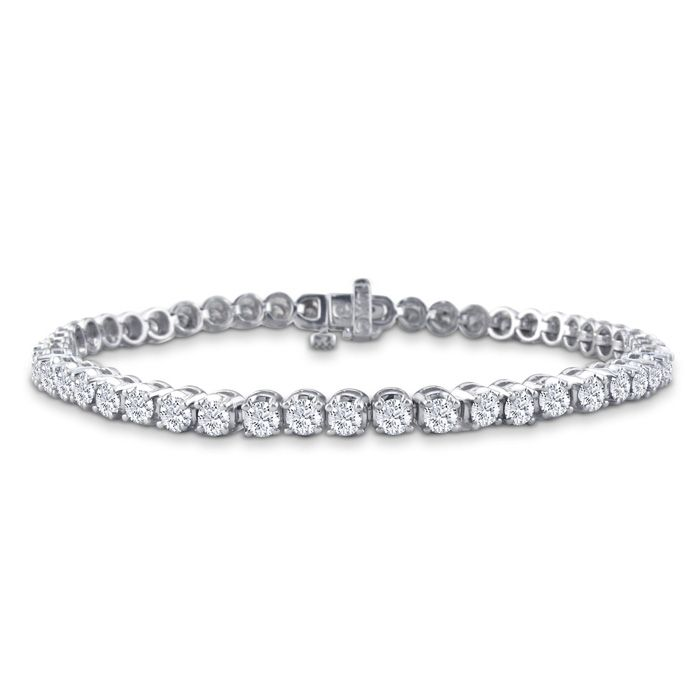 6 Inch 2 56ct Round Based Diamond Tennis Bracelet In 14k White Gold