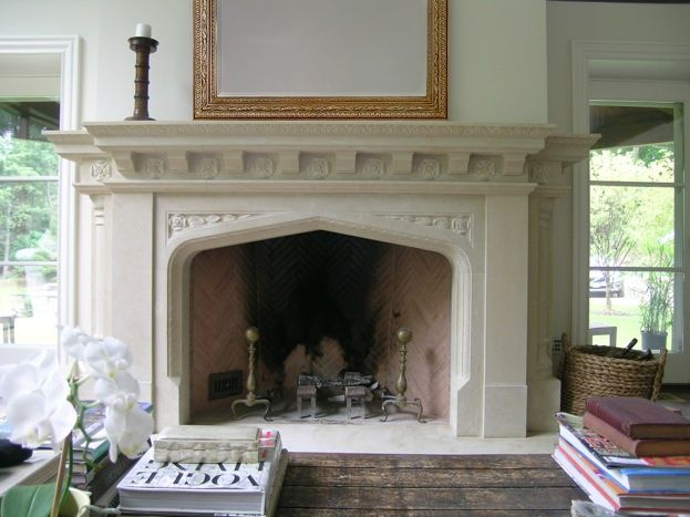 Neo gothic limestone mantel with tudor rose details for Tudor fireplaces