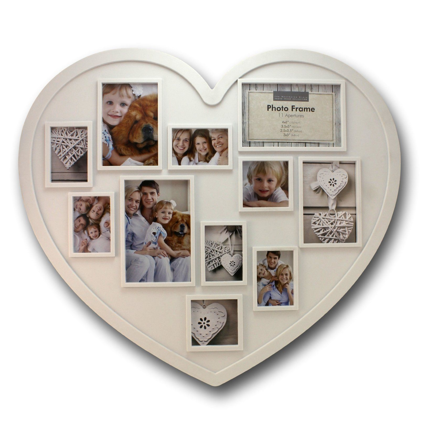 20 X 18 Inch 11 Photo Collage Frame Large Heart Shaped White