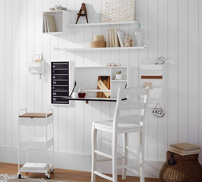 Build Your Own Wyatt Workspace White Wall Mounted Desk Wall