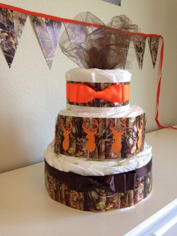 Hunting Camo Diaper Cake With Orange Stags Made To By Tractorbaby