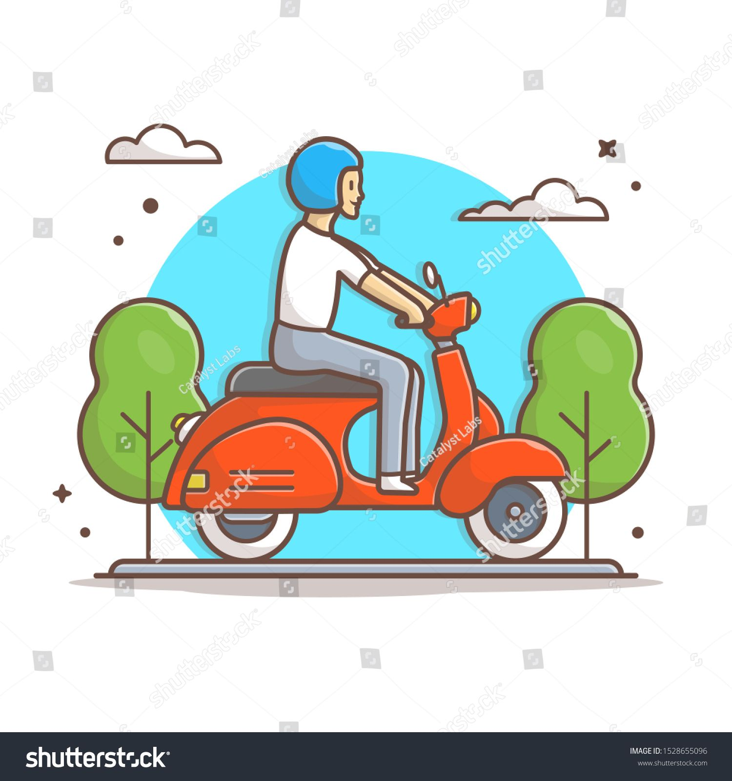 Man Riding Vespa Scooter Vector Icon Illustration Scooter And