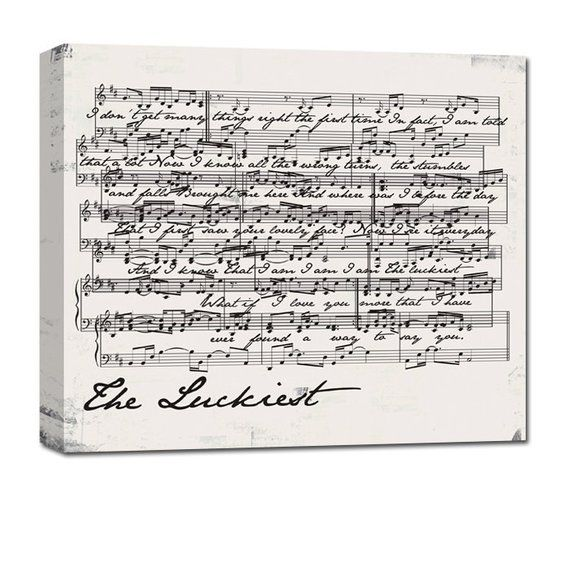 Great Wedding Anniversary Gifts: Gifts For Couples/ Large Personalized Sheet Music Canvas