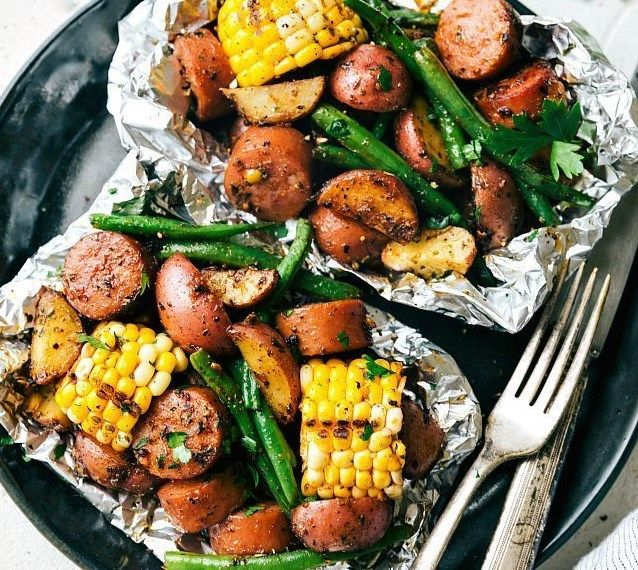 Photo of FOIL PACK GARLIC BUTTER SAUSAGE & VEGGIES #vegetarian #dinner