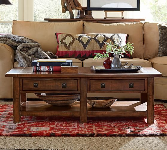 Benchwright Rectangular Coffee Table Rustic Mahogany Coffee table