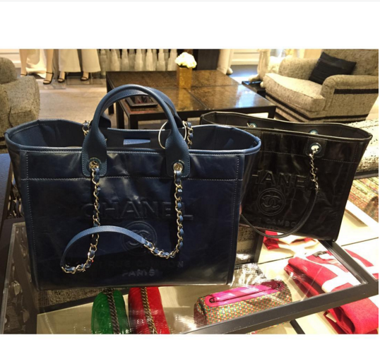fdec1ac9a5b7 Chanel Navy Large and Black Small Leather Deauville Tote Bag | bags ...