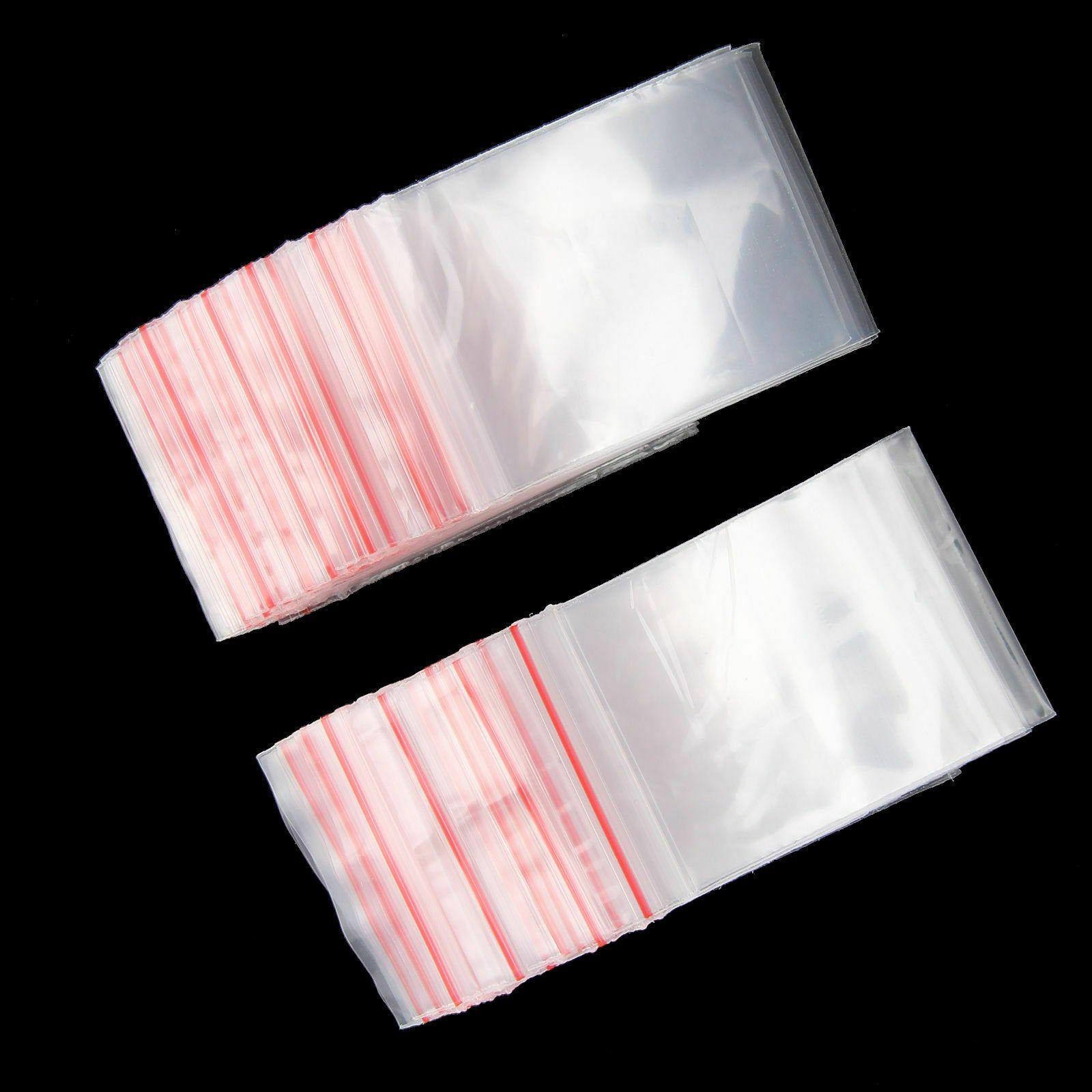 100 small clear self adhesive zip lock plastic bags 6x4 cm