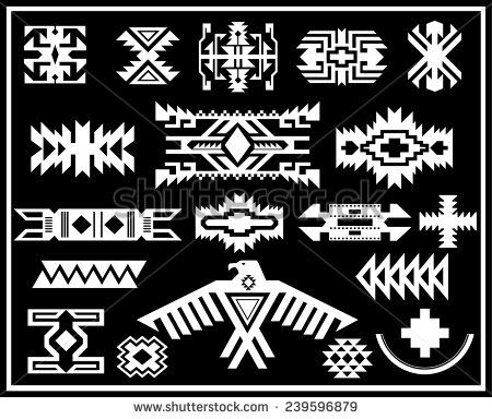 navajo designs patterns. Aztec Navajo Indian American Vector Pattern Illustration Set - Stock Designs Patterns O