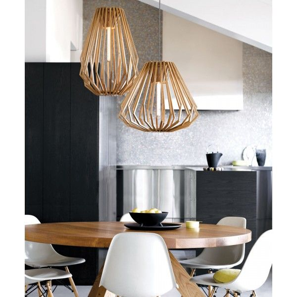 Stockholm 1 light squat flair pendant in natural wood pendant lights
