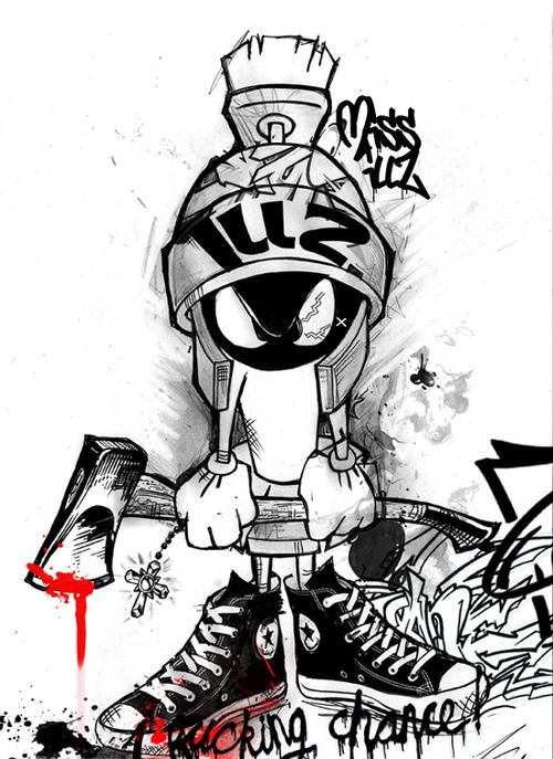 Gangster Marvin The Martian : gangster, marvin, martian, Mavis, Illicit, Graffiti, Characters,, Marvin, Martian