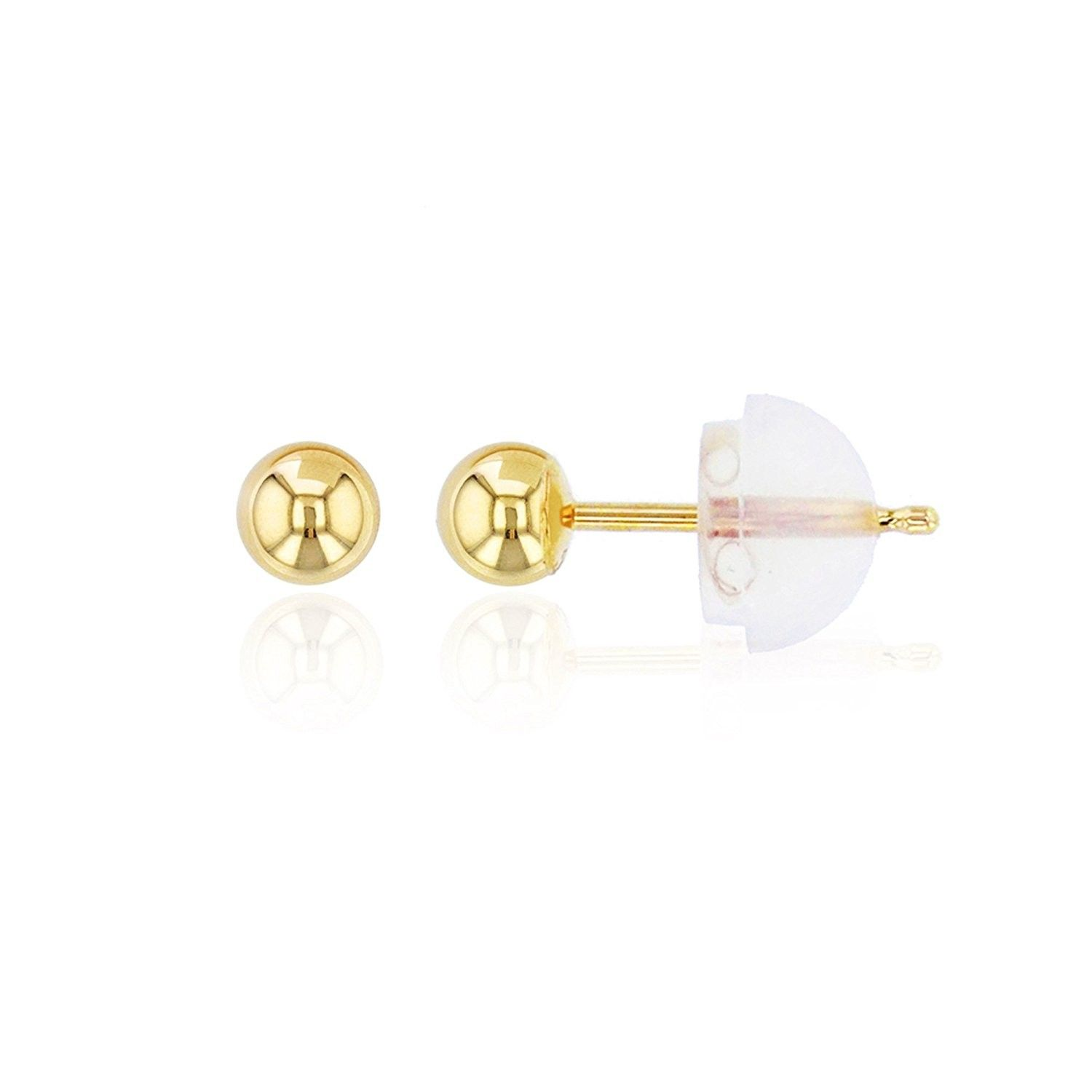 J hook nose piercing  K Gold mm Ball Stud Earring  Yellow  CCYLG  Earrings