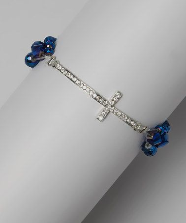 Take a look at this Blue Crystal Gemstone Cross Stretch Bracelet by Treska on #zulily today! $10 !!