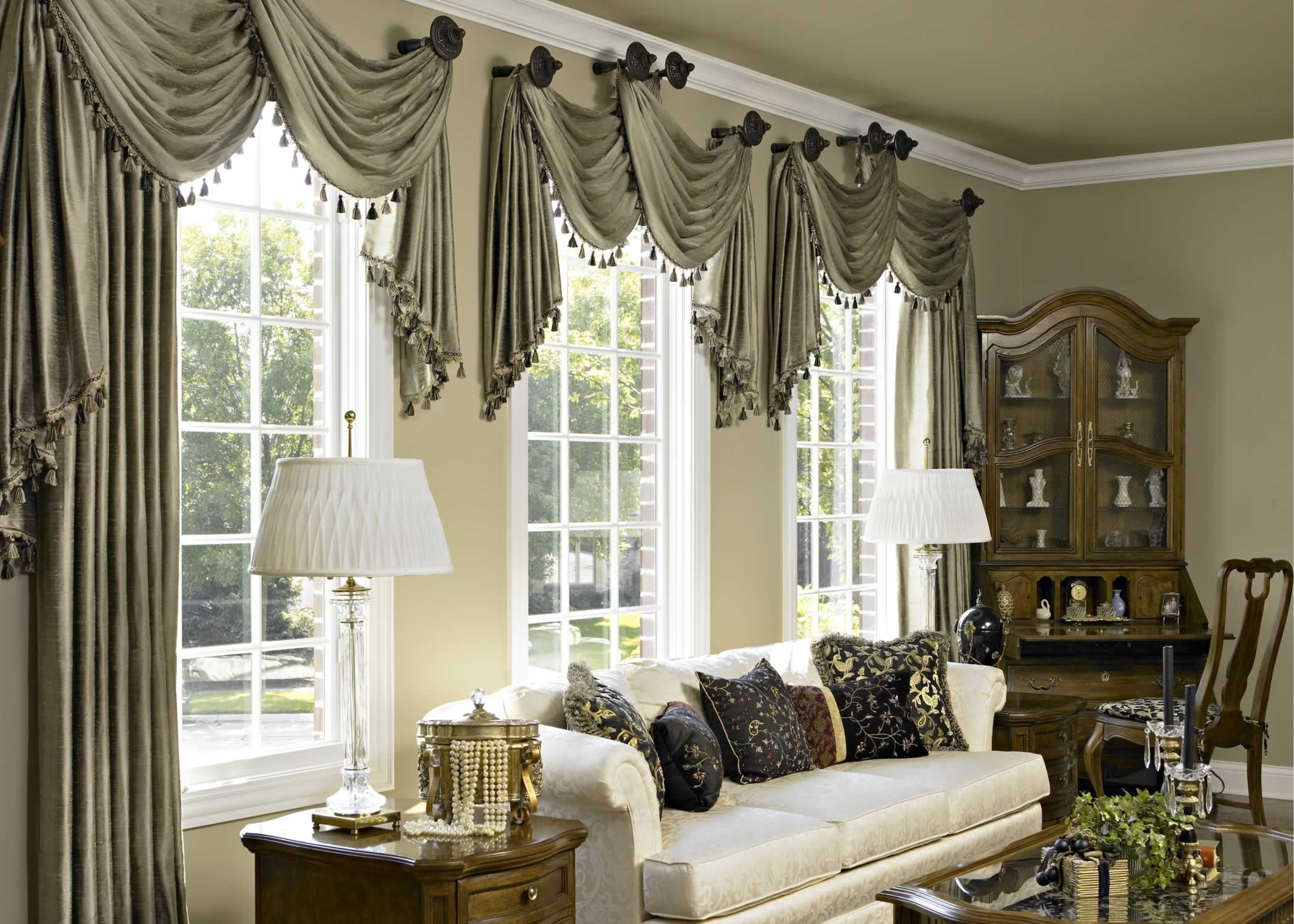 Accesories U0026 Decors,Gray Fabric Scarf Over Valance As Window Treatment For  Spring Living Room Window Treatment Ideas Added White Couch And Corner  Cabinetry ... Part 14