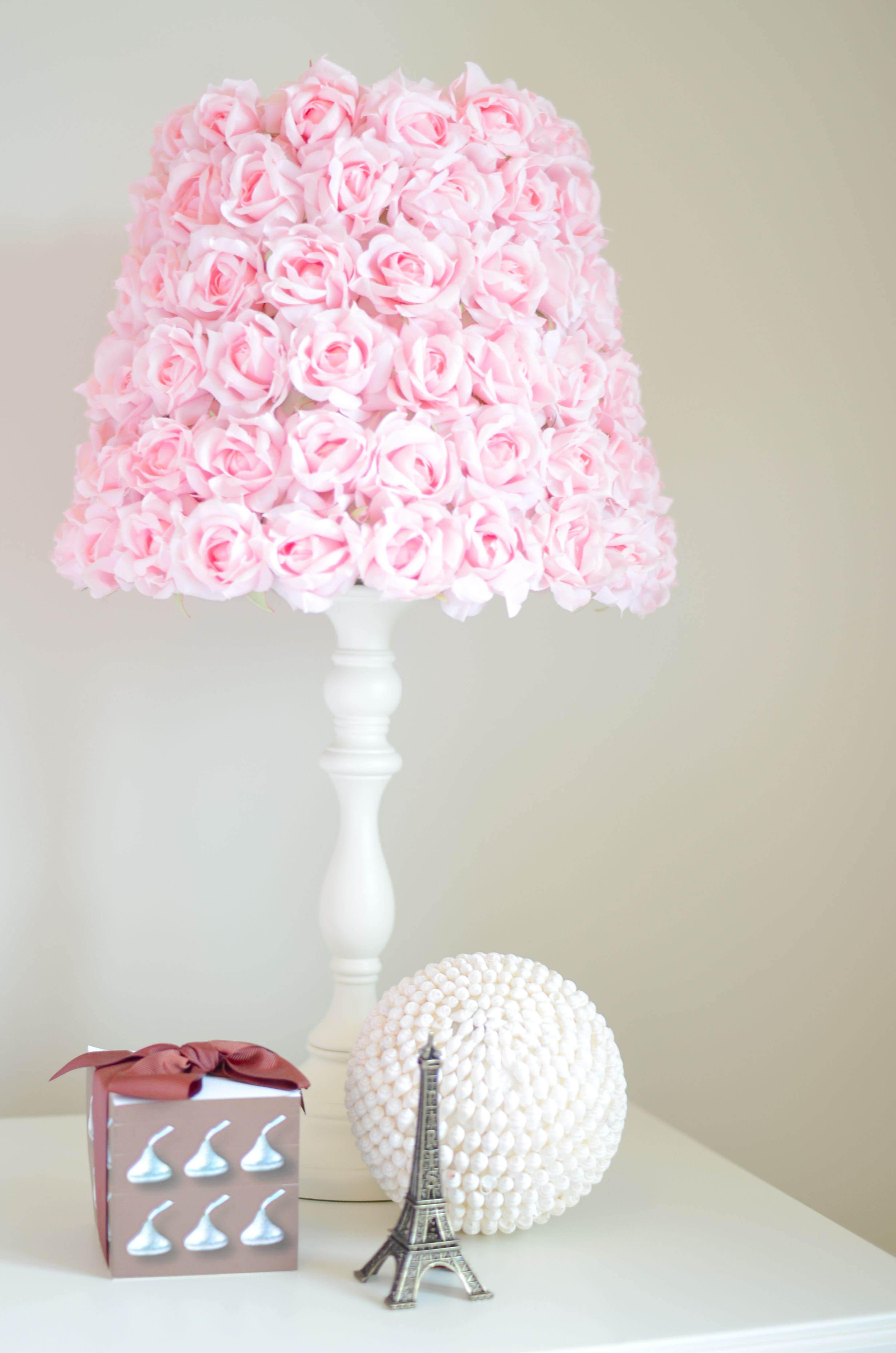 Pink Rose Lamp. Doing This With An Old Ugly Lamp. Grey Spray Piant And