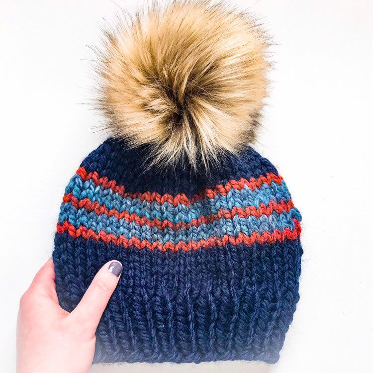 d4f2054e2125b1 Chunky knit hat | Navy knit hat | Womens navy hat | Knit hat with stripes