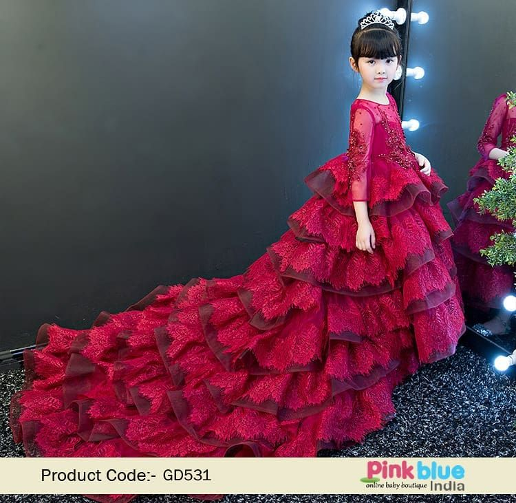 7e563f18155db Luxury Long Tail Flower Girl Wedding Dress, Custom Made Long Wedding ...