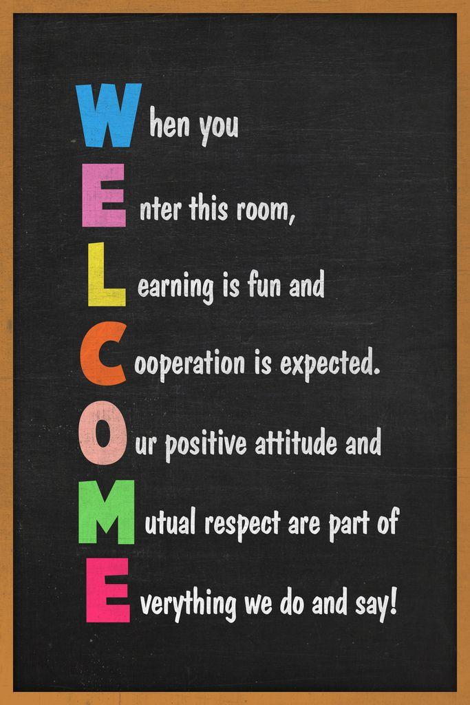 Classroom Sign Welcome Teacher Motivational Inspirational. Rules Poster 12x18 inch - Walmart.com
