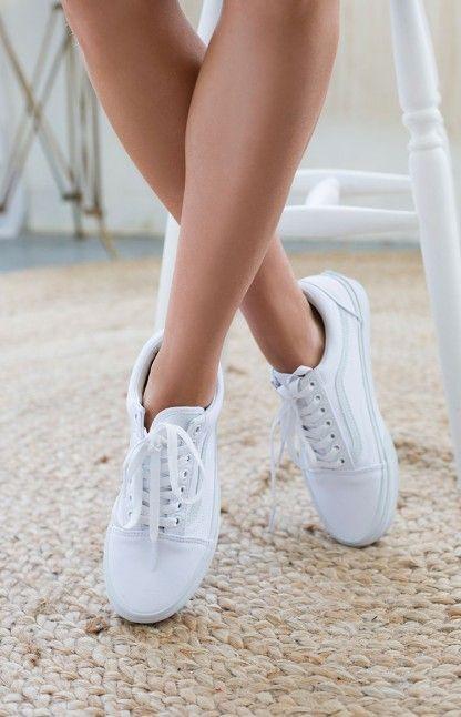 vans old skool white on feet