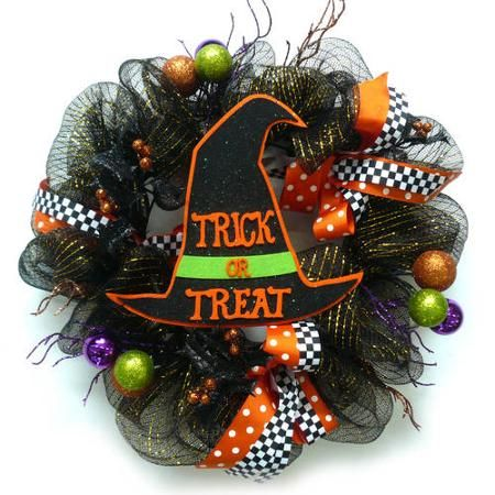 Mesh Ribbon Halloween Wreath with Hat - Walmart Halloween and