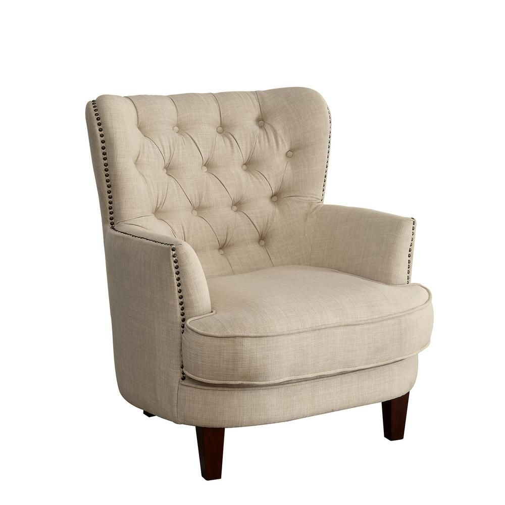 Best Williams Import Arleen Tufted Back Accent Chair In Beige 400 x 300