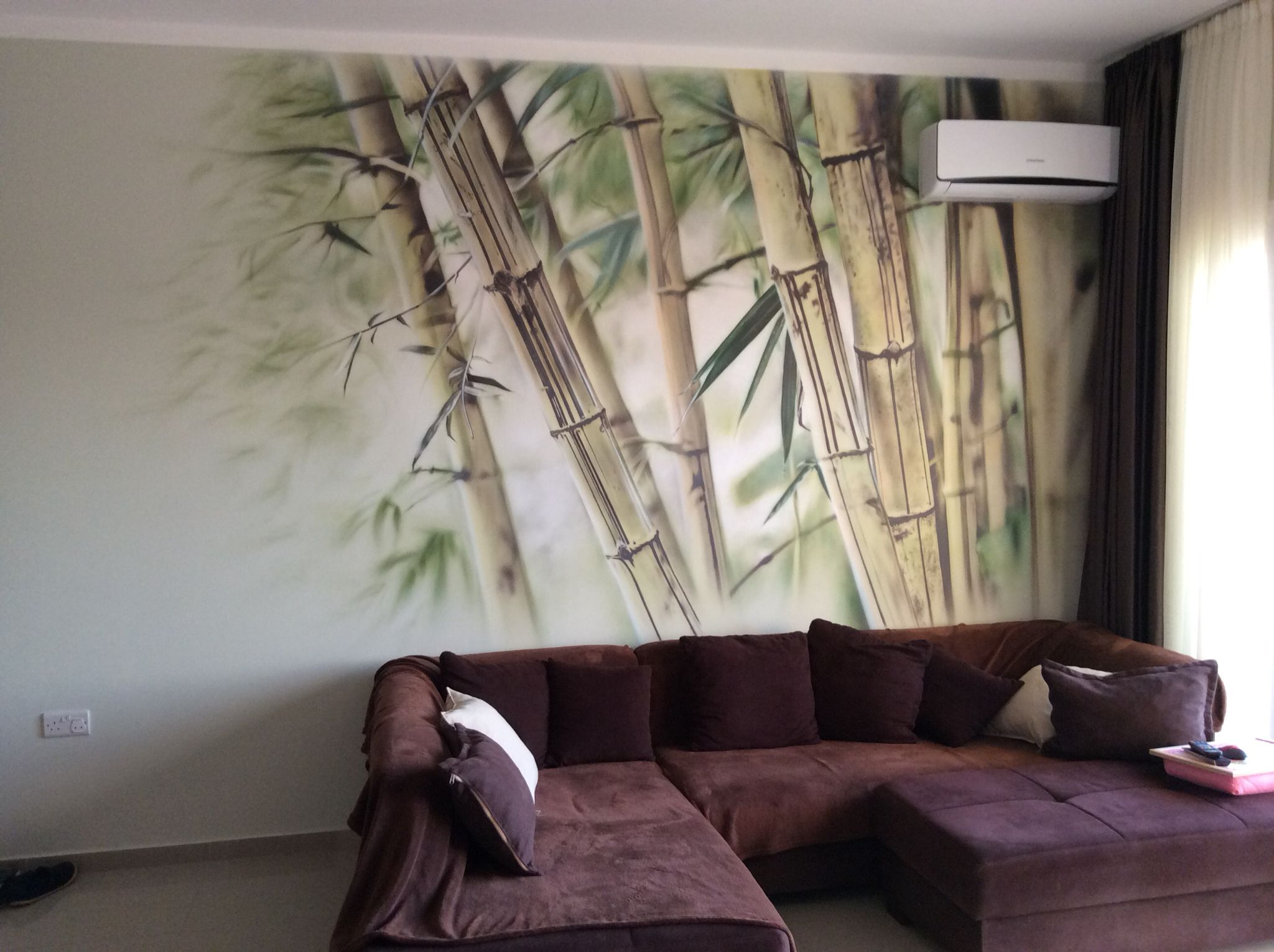 """Bamboo"" Airbrush on the wall Mural in living room Tools ..."