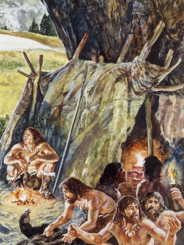 Paleolithic Humans on Campsite, Illustration | Campsite ...  Paleolithic Hum...