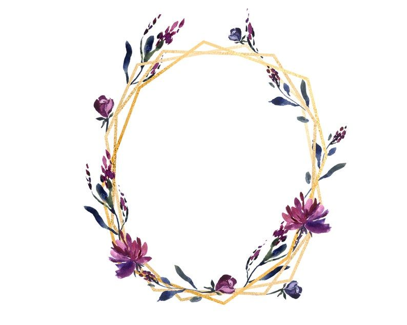 Watercolor Frames Wreaths And Borders In Plum Purple Blue Etsy Frame Wreath Plum Purple Burgundy Color Scheme