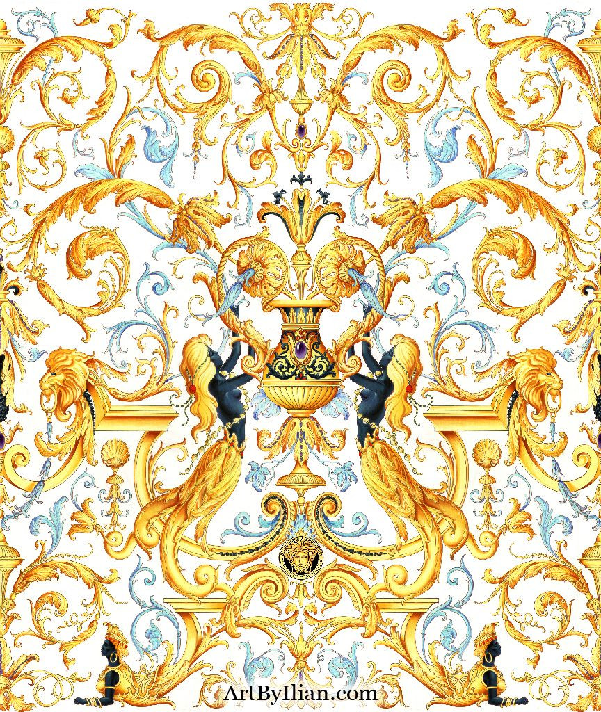 Ilian Rachov for Versace. Baroque Marmaids.Pattern design created in 2005. Inspired from the tapestry of The King
