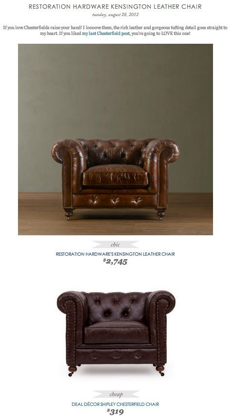 COPY CAT CHIC FIND: Restoration Hardware Kensington Leather Chair VS Deal  Decor Shipley Chesterfield Chair