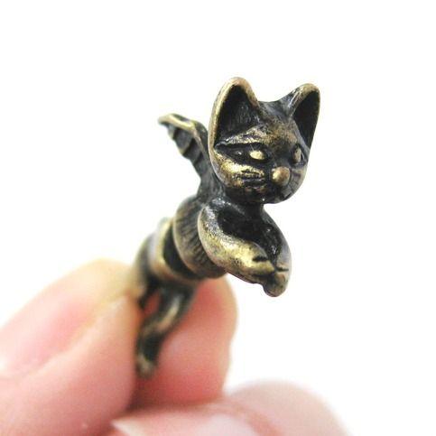Unique Fake Gauge Kitty Cat Burglar Animal Stud Earrings
