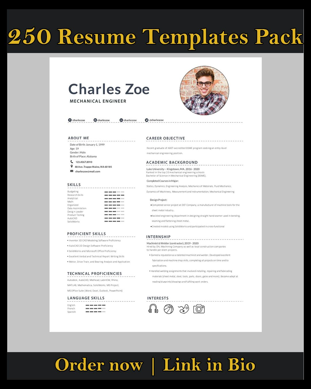professional designed ms word resume template and cover