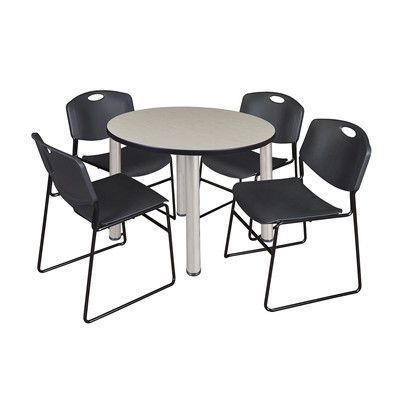 """Regency Kee Round Table with 4 Zeng Chairs Size: 29"""" H x 36"""" W x 36"""" D, Base Finish: Chrome, Top Finish: Maple"""