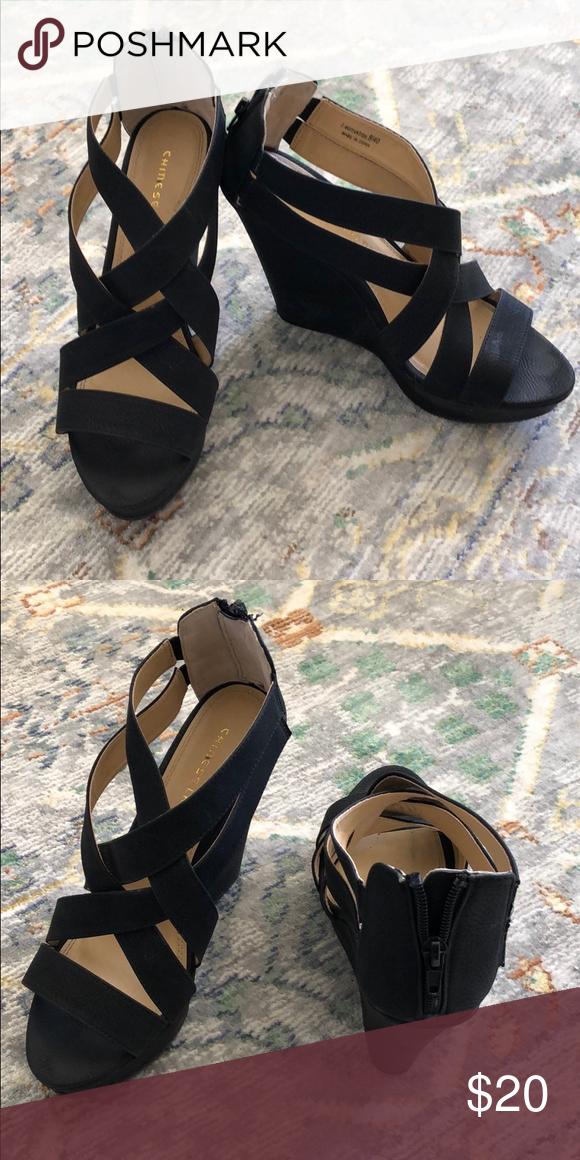 Chinese Laundry Black Sandal Wedges Chinese Laundry Black Sandal Wedges Size 9 Chinese Laundry Shoes Wedges Black Sandals Wedge Sandals Sandals