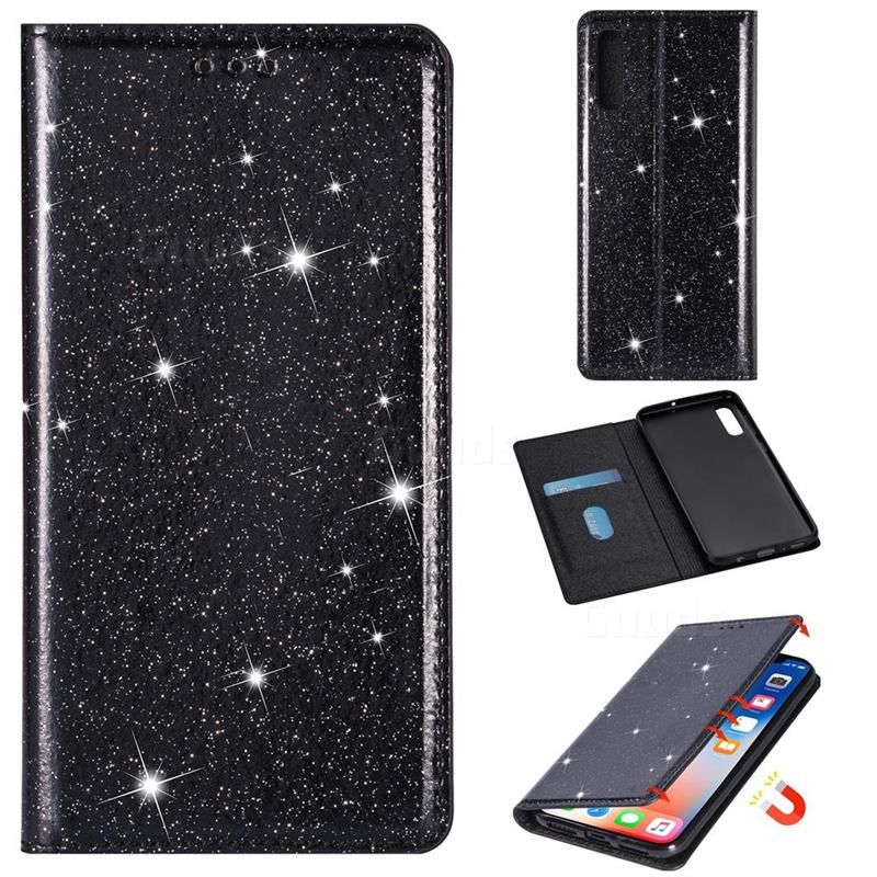 Ultra Slim Glitter Powder Magnetic Automatic Suction Leather Wallet Case for Samsung Galaxy A70 - Black - Galaxy A70 Cases - Guuds