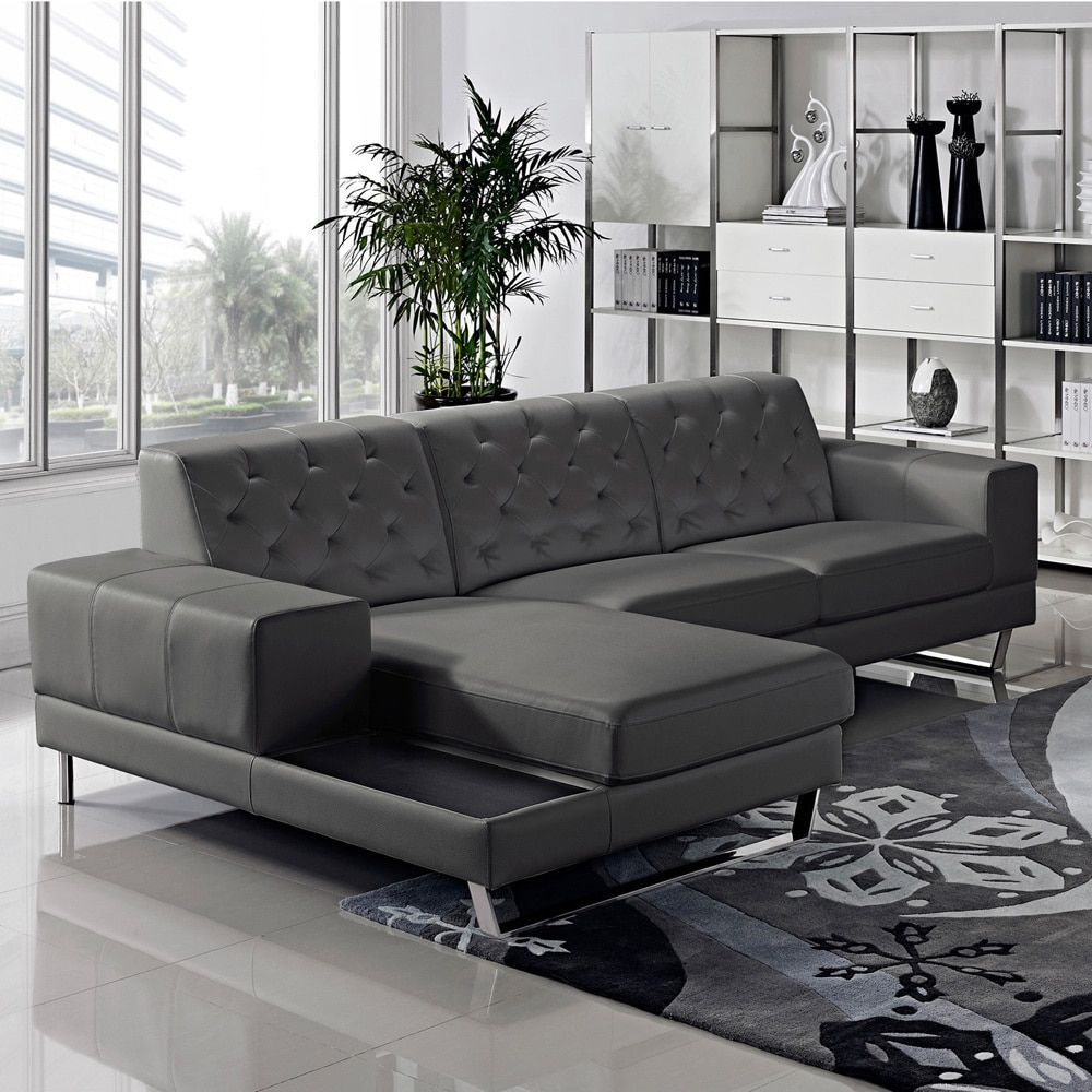Us Pride Furniture Stella Contemporary Chaise Leather Sectional Sofa Set Dark Grey Left Facing Chaise Sofa Set Bonded Leather Products Leather Sectiona